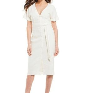Gianni Bini Tie Waist Front Button Midi Dress